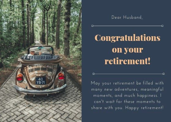Loving retirement card for your husband